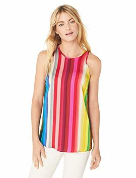 Milly Women's Rainbow Print On Georgette Sleeveless Marie Tank Top, by Milly
