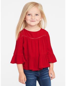 Crinkle Gauze Flutter Sleeve Top For Toddler Girls by Old Navy