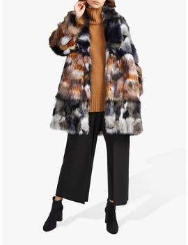 French Connection Golda High Neck Faux Fur Coat, Utility Blue/Brown by French Connection