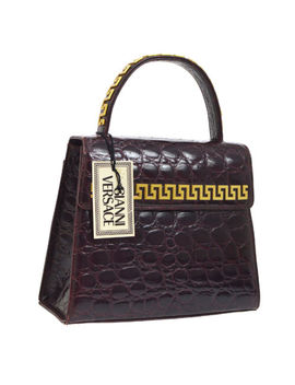 Authentic Gianni Versace Hand Bag Purple Gold Embossed Leather Vintage Ak26040 by Gianni Versace