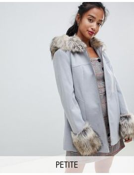 Miss Selfridge Petite Fur Trim Swing Coat In Pale Gray by Miss Selfridge