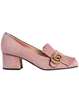 Crystal Pink Marmont New Gg Suede Block 36 Pumps by Gucci