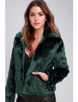Kale Forest Green Faux Fur Bomber Jacket by Obey