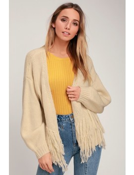 I Found You Cream Fringe Knit Cardigan Sweater by Lulu's