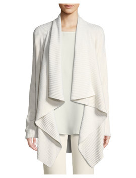 Cozy Flannel Sequin Open Front Waterfall Cardigan by Lafayette 148 New York