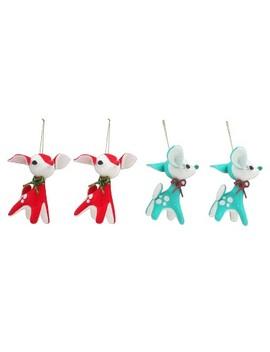 4ct Merry Lane Felt Plush Retro Reindeer Christmas Ornament Red/Green   Wondershop™ by Wondershop