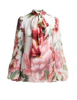 Blouse En Mousseline De Soie à Imprimé Floral by Dolce & Gabbana