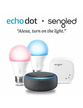 Echo Dot (3rd Gen)   Charcoal With Sengled Color Smart Lighting Kit by Amazon