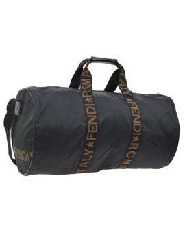 Auth Fendi Jumbo Xl 2way Travel Hand Bag Black Brown Nylon Leather Vtg Rk13524 by Fendi