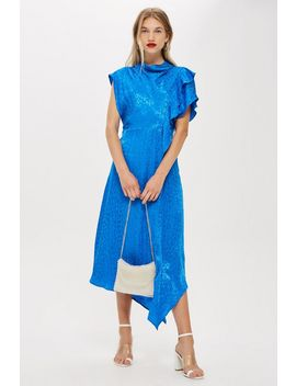 Cowl Neck Jacquard Midi Dress by Topshop