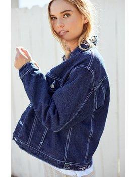 John Galt White Stitch Denim Jacket by Pacsun