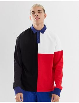 Collusion Cut And Sew Panel Rugby Shirt In Black by Collusion