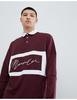 Mennace Oversized Rugby Polo Shirt In Burgundy by Mennace