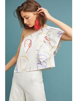 Graphic One Shoulder Blouse by Where Mountains Meet