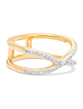 Riva Wave Cross Gold Vermeil Diamond Ring by Monica Vinader