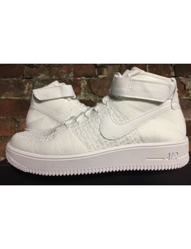 Nike Air Force 1 Ultra Flyknit Mid Uk9 Eur44 Triple White 817420 102 Af1 Rare by Ebay Seller