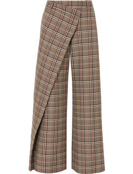 Wrap Effect Checked Wool Blend Canvas Wide Leg Pants by Monse