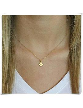 Gold Paw Necklace,Tiny Paw Print Necklace,Cat Paw Necklace,Dog Paw Necklace,Pet Memorial Necklace by Yi Sheng
