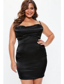 Plus Size Black Satin Cowl Neck Dress by Missguided