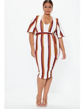 Plus Size White Stripe Kimono Midi Dress by Missguided