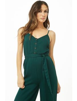 Button Front Cami Jumpsuit by Forever 21