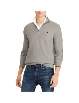 Polo Ralph Lauren Half Zip Textured Knit Jumper, Fawn Grey Heather by Ralph Lauren