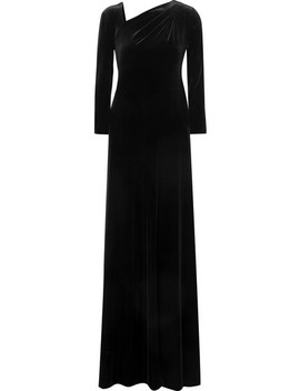 Asymmetric Open Back Velvet Gown by Giorgio Armani