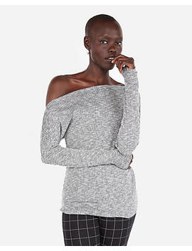 Heathered Ribbed Off The Shoulder Tee by Express