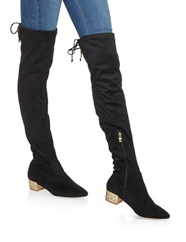 Glitter Heel Over The Knee Boots by Rainbow