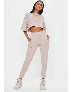 Cream Slim Leg Joggers by Missguided