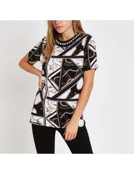 White Chain Print Embellished Neck T Shirt by River Island