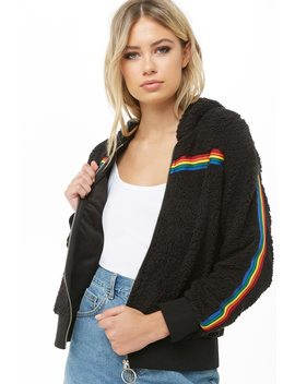 Faux Shearling Rainbow Jacket by Forever 21