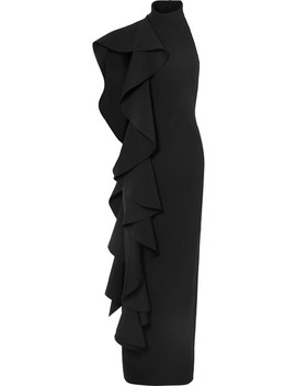 Cold Shoulder Draped Ruffled Stretch Crepe Maxi Dress by Solace London