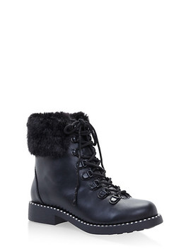 Faux Fur Cuff Lace Up Combat Boots by Rainbow