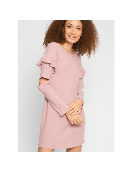 Elm Thermal Knit Dress In Light Pink by Wet Seal