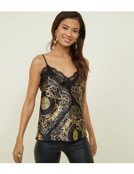Black Baroque Print Satin Cami by New Look