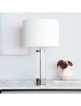 Acrylic Column Table Lamp + Usb   Polished Nickel by West Elm