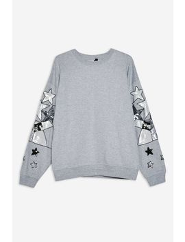 Star Sequin Sleeve Sweatshirt by Topshop