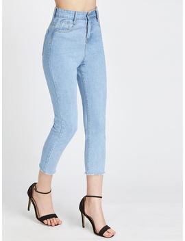 Fray Hem Crop Jeans by Romwe