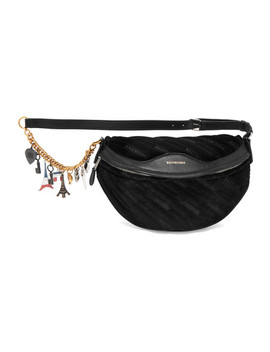 Souvenir Embellished Leather Trimmed Velvet Belt Bag by Balenciaga