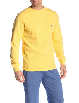 Waffle Knit Crew Neck Long Sleeve Tee by Polo Ralph Lauren
