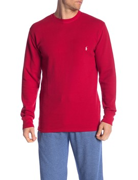 Crew Neck Long Sleeve Waffle Knit Collegiate Tee by Polo Ralph Lauren
