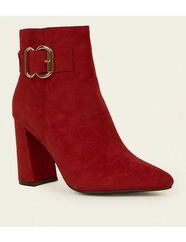Red Suedette Buckle Side Flared Heel Boots by New Look