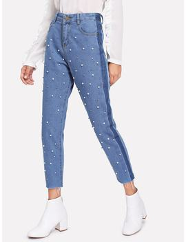 Faux Pearl Decoration Jeans by Romwe