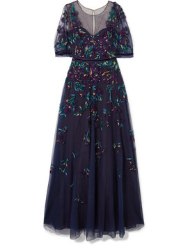 Bead Embellished Embroidered Tulle Gown by Marchesa Notte