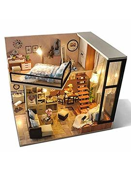 Sport Fitness Diy Doll House Wooden Doll Houses Miniature Dollhouse Furniture Kit Toys Mini Furniture Decoration Christmas Gift by Sport Fitness
