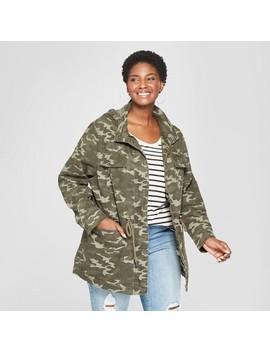 Women's Plus Size Camo Print Utility Anorak Jacket   Ava & Viv™ Green by Ava & Viv