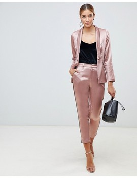 Little Mistress Satin Blazer With Contrast Piping In Copper by Little Mistress