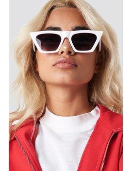 Sharp Square Cateye Sunglasses White by Na Kd