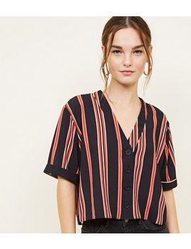 Petite Orange Stripe Crepe Boxy Shirt by New Look